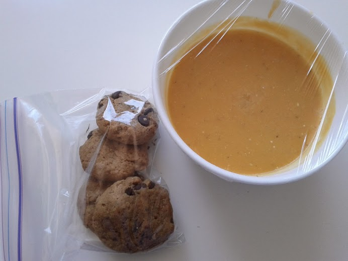 Butternut squash soup + chocolate chip cookies